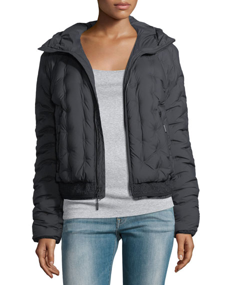 Quilted Puffer Hooded Bomber Jacket