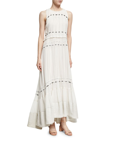 3.1 Phillip Lim Pintuck Sleeveless Silk Gown Dress W/ Ties, White