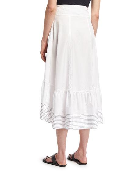 Victorian Waist Poplin Midi Skirt, White