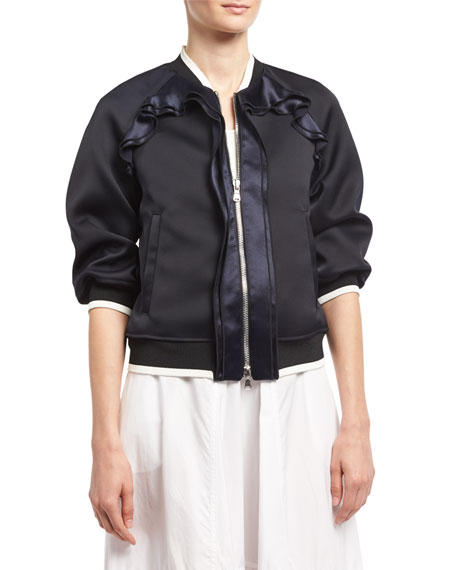 Cropped-Sleeve Ruffled Bomber Jacket, Navy