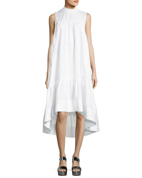 Sleeveless Smock-Neck Trapeze Poplin Dress