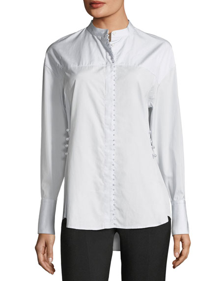 Long-Sleeve Button-Front Poplin Shirt w/ Pearlescent Embroidery