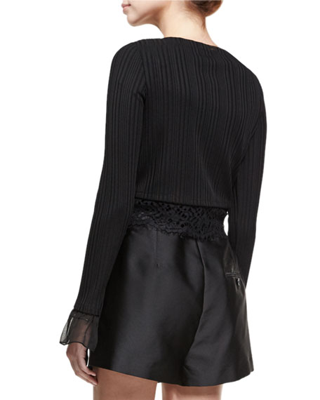 Long-Sleeve Rib-Knit Cropped Top W/ Lace, Black