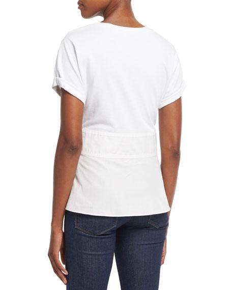 Short-Sleeve W/ Corset Waist Top, White