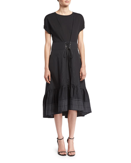 Short-Sleeve Corset-Waist Midi Dress, Black