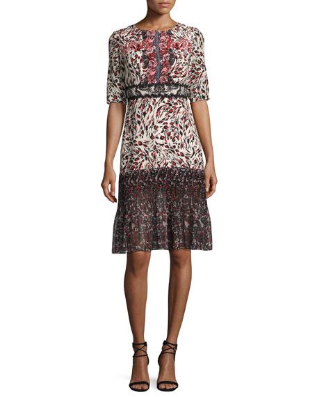 Vera-C Round-Neck Half-Sleeve Midi Dress, Leopard