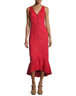 Zoey Cutout Button-Front Midi Cocktail Dress, Red