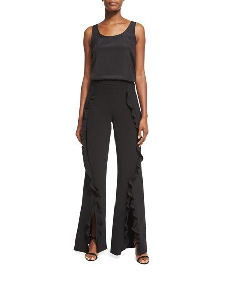 Ivy Ruffle Flared Trousers, Black