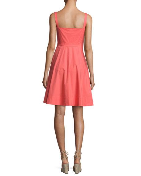 Fara Button-Front Poplin Short Dress, Bright Pink