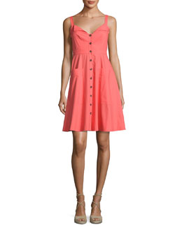 Fara Button-Front Poplin Short Dress, Bright Pink