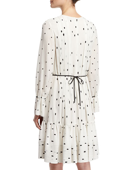 Snowbird-Print Pintuck Dress W/ Silk Ties, White