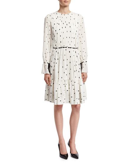 Snowbird-Print Pintuck Dress W/ Silk Ties, White
