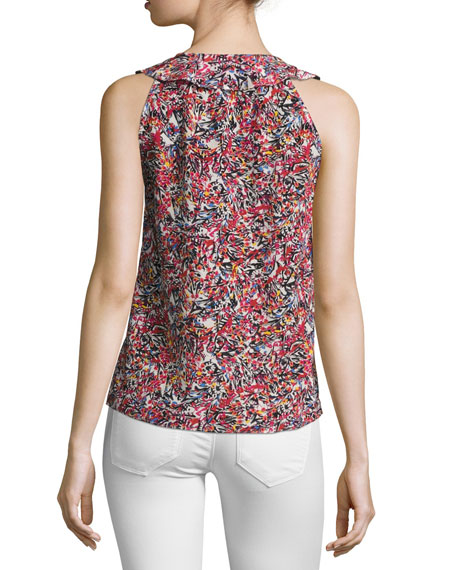 Bethany Sleeveless Silk Top, Pink Multi