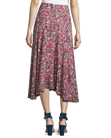 Ida A-Line Silk Midi Skirt, Multi