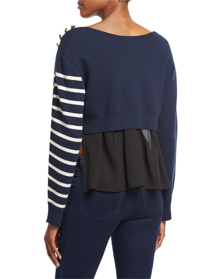 Sailor Stripe Pullover Sweater W/ Silk Back, Navy