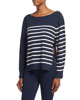 Sailor Stripe Pullover Sweater W/ Silk Back, Navy