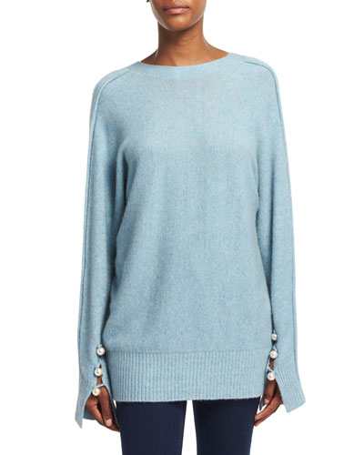 Long-Sleeve V-Back Pullover Sweater, Light Blue