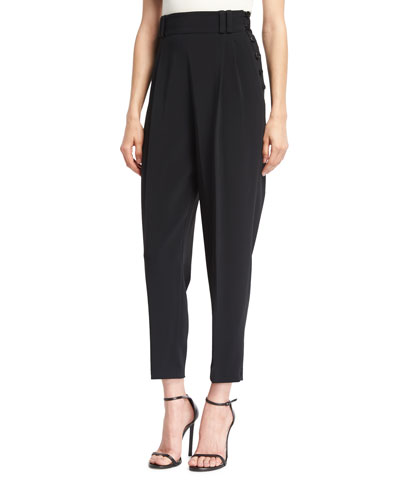Tailored High-Waist Side-Button Pants, Black