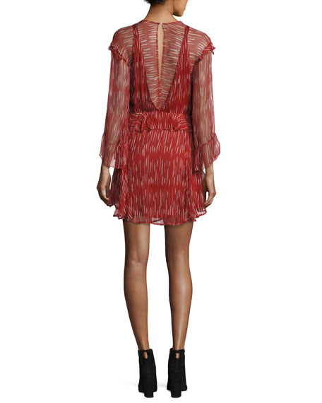 Canyon Long-Sleeve Ruffled Dress, Red/White