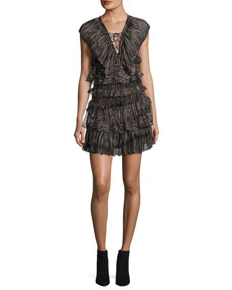Camrose Tiered Lace-Front Mini Dress, Black/Pink
