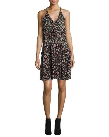 Baden Sleeveless V-Neck Ruffled Mini Dress, Black/Red