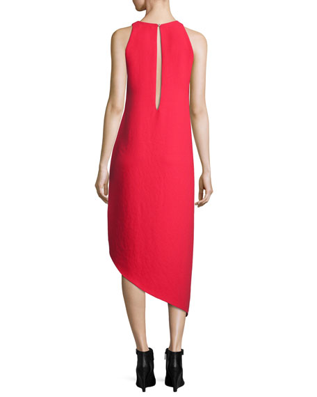 Hamlin Asymmetric High-Low Sleeveless Dress, Red