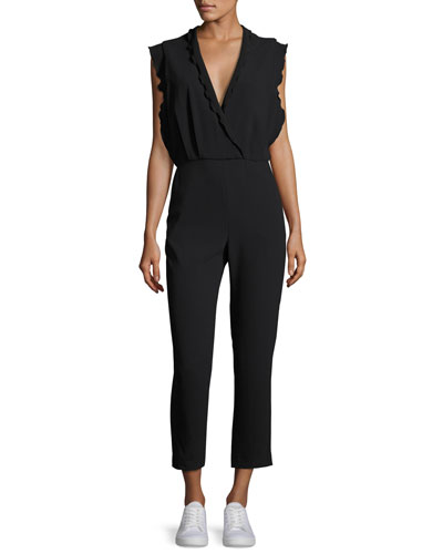 Ioco Scalloped Split-Back Jumpsuit, Black