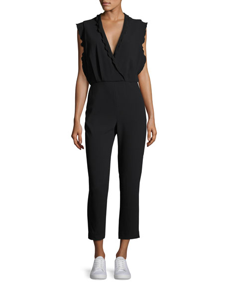 Ioco Scalloped Split-Back Jumpsuit, Black