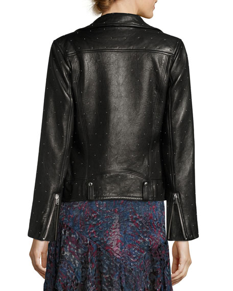 Vamy Studded Leather Jacket, Black