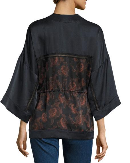 Dafoe Silk Kimono Top, Black/Red