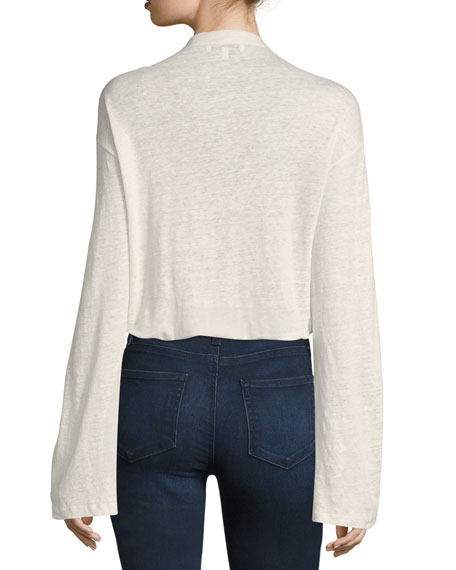 Alety Lace-Up Long-Sleeve Top, Ivory