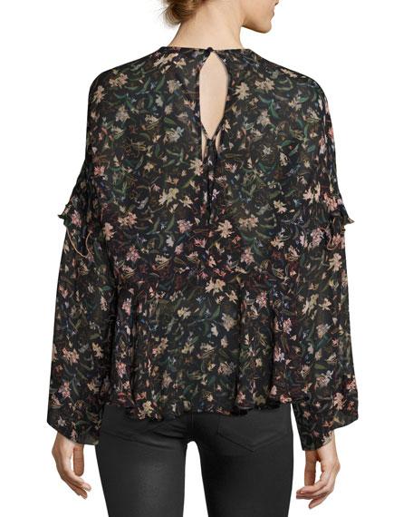 Long-Sleeve Floral-Print Chiffon Top