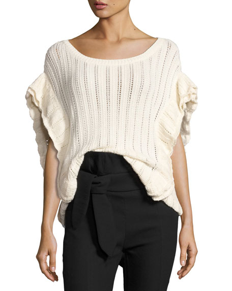 Iro Dafgan Open-Knit Boat-Neck Top, Ecru