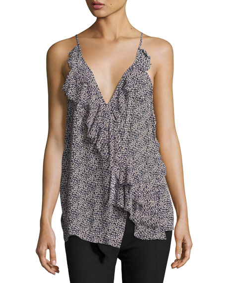 Grifin Drapey Cross-Back Cami Top, Navy
