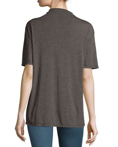 Osland Slit-Front Short-Sleeve Top, Gray