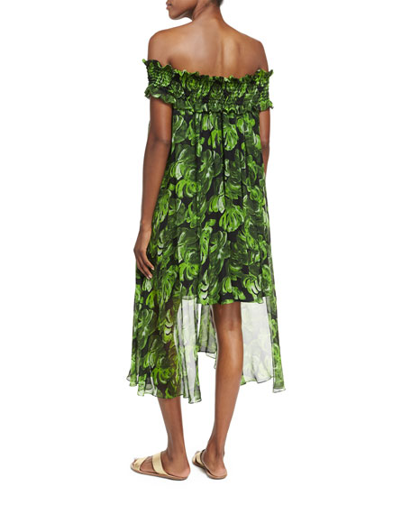 Areadne Off-the-Shoulder Fluid Silk Dress