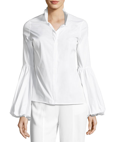 Caroline Constas Jacqueline Button-Front Poplin Shirt, White