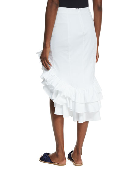 Pencil Ruffled High-Low Skirt