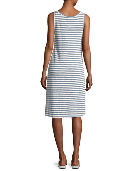 Avril Striped Linen Tank Dress, Blue