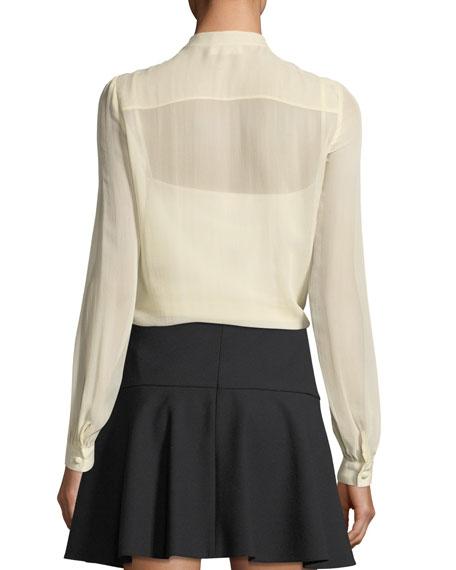 Long-Sleeve Silk Georgette Blouse w/ Crocheted Ruffle