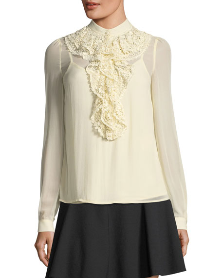 Long-Sleeve Silk Georgette Blouse w/ Crocheted Ruffle