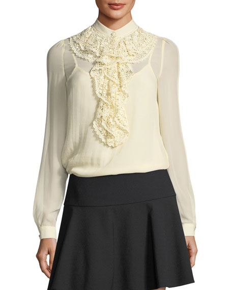 RED Valentino Long-Sleeve Silk Georgette Blouse w/ Crocheted