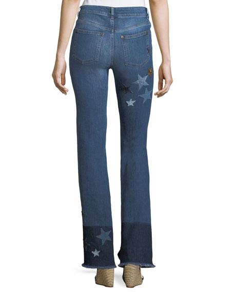 Stone-Washed Stretch Denim Jeans w/ Star Patches