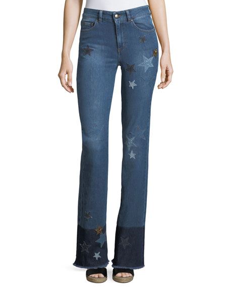 REDValentino Stone-Washed Stretch Denim Jeans w/ Star Patches
