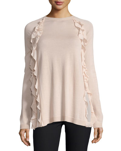 Sweater w/ Silky Ruffle Detail