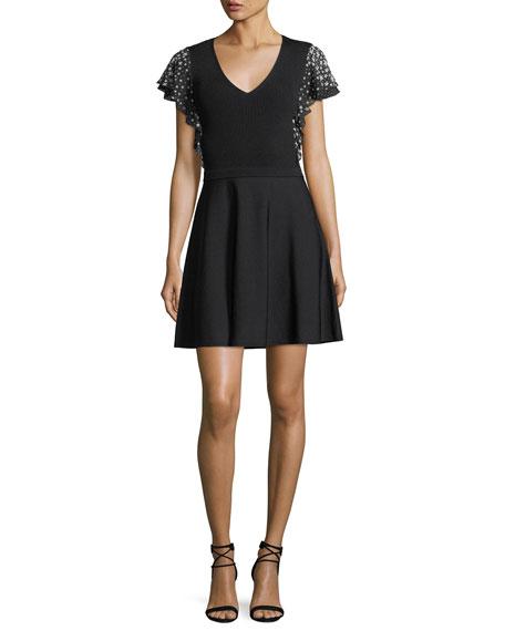 Stardust-Print Short-Sleeve V-Neck Knit Dress