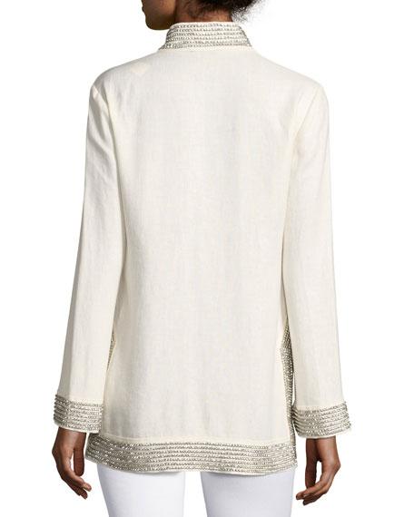 Crystal-Embellished Linen Tunic, Ivory