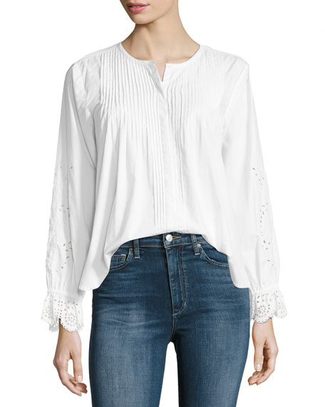 Kalyssa Long-Sleeve Poplin Top, White