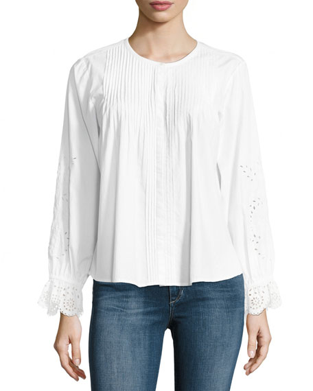 Kalyssa Long-Sleeve Poplin Top, White