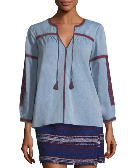 Marlen Split-Neck Cotton Top w/ Embroidery